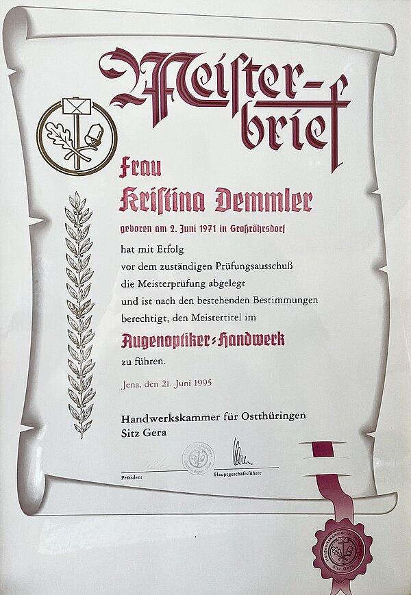 Meisterbrief Kristina Demmler