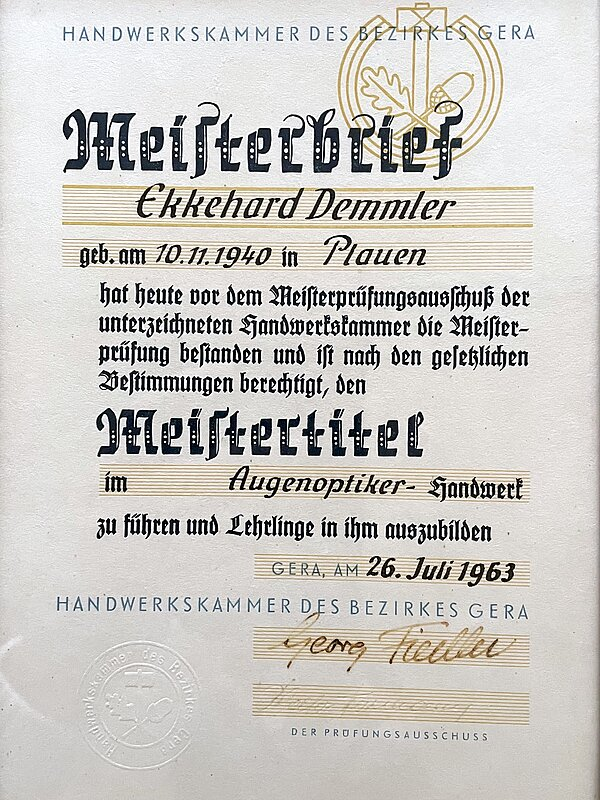 Meisterbrief Ekkehard Demmler