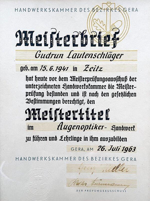 Meisterbrief Gudrun Demmler